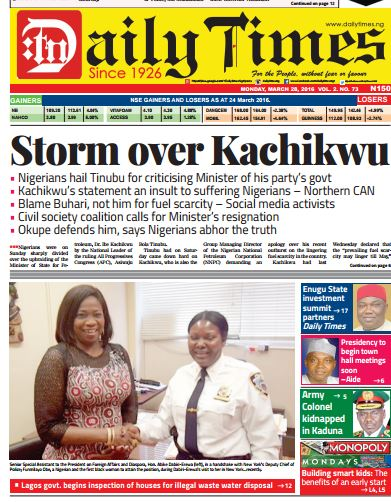 Daily Times Newspaper , Monday, March 28th, 2016