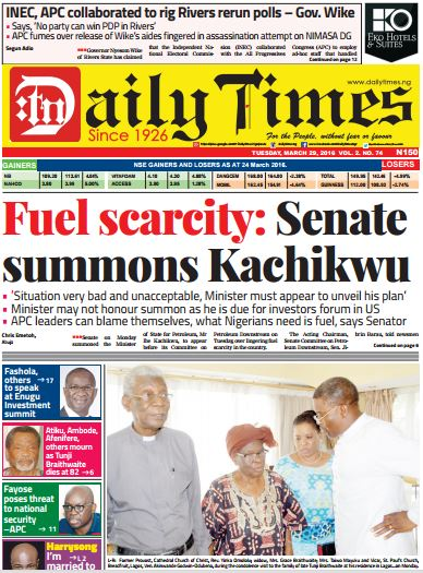 Daily Times Newspaper, Tuesday, March 29, 2016