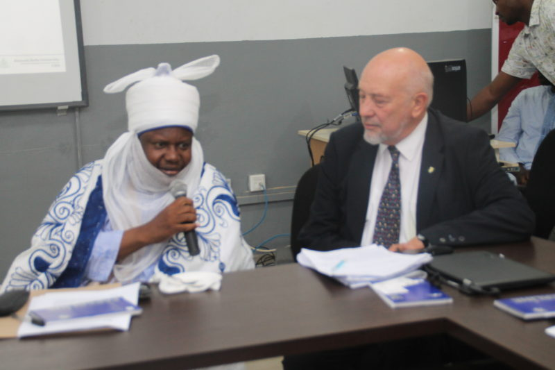 NRCN Team Leader and Nigeria Infrastructure Advisory Facility (NIAF), Sector Leader on Effective Cities, Mike Mutter (right), with the representative of the Emir of Kano, District Head of Gwale and Dan Majen Kano, Alhaji Yahaya Inuwa at the DFID sponsored NRCN workshop.