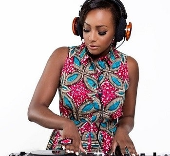 DJ Cuppy spinning the wheels