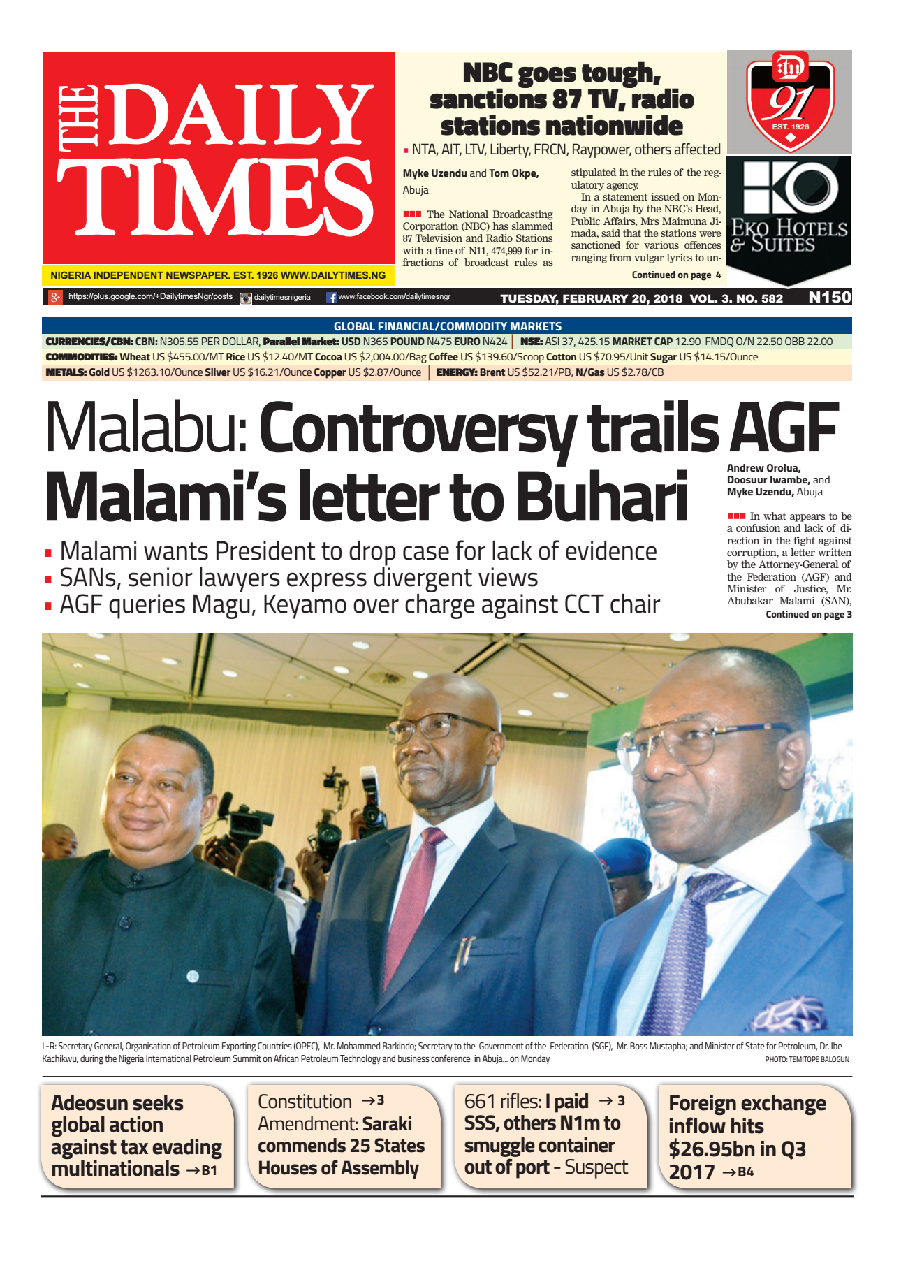 Daily Times Newspaper, Tuesday, February 20, 2018