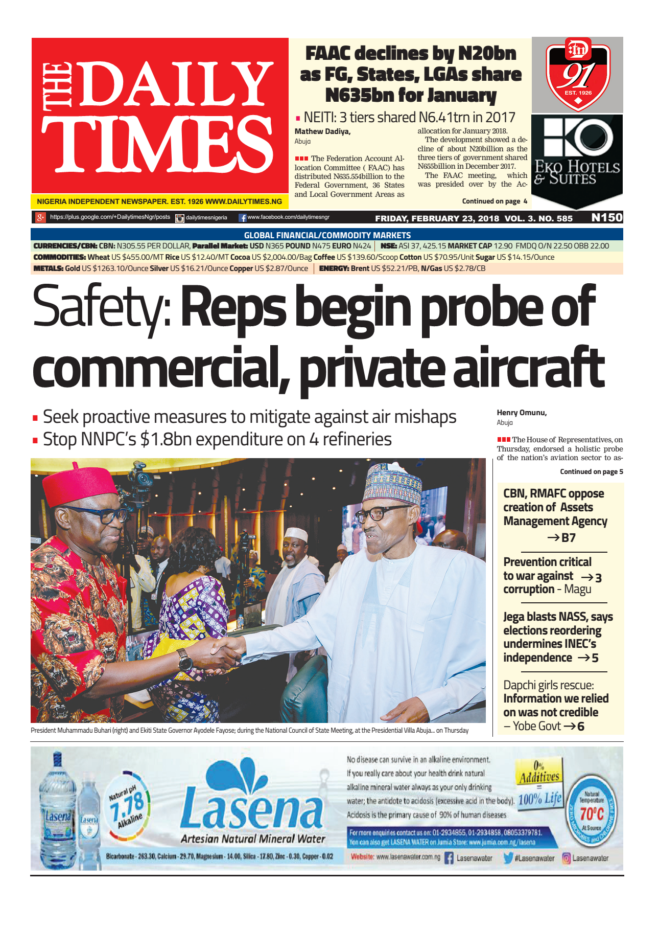 Daily Times Newspaper, Friday, February 23, 2018