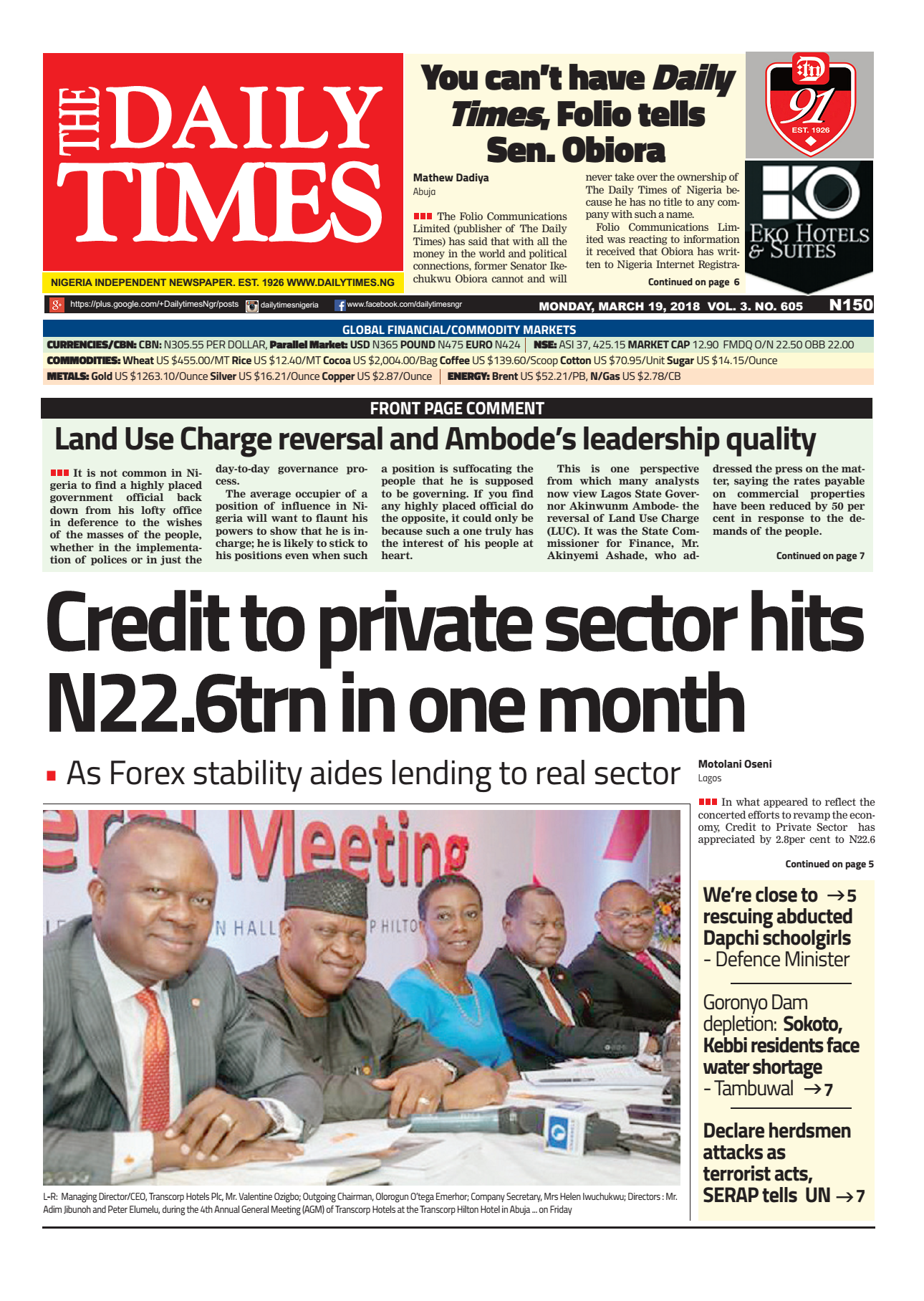 Daily Times Newspaper, Monday, March 19, 2018
