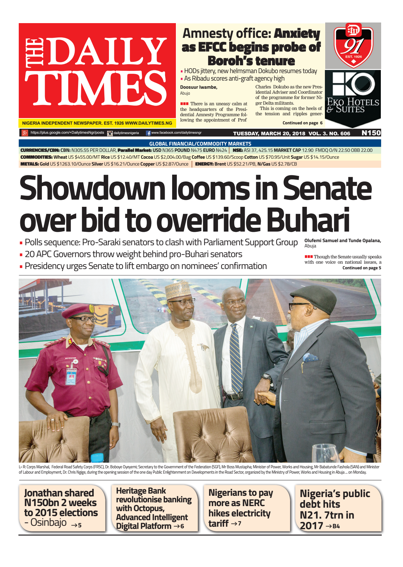 Daily Times Newspaper, Tuesday, March 20, 2018
