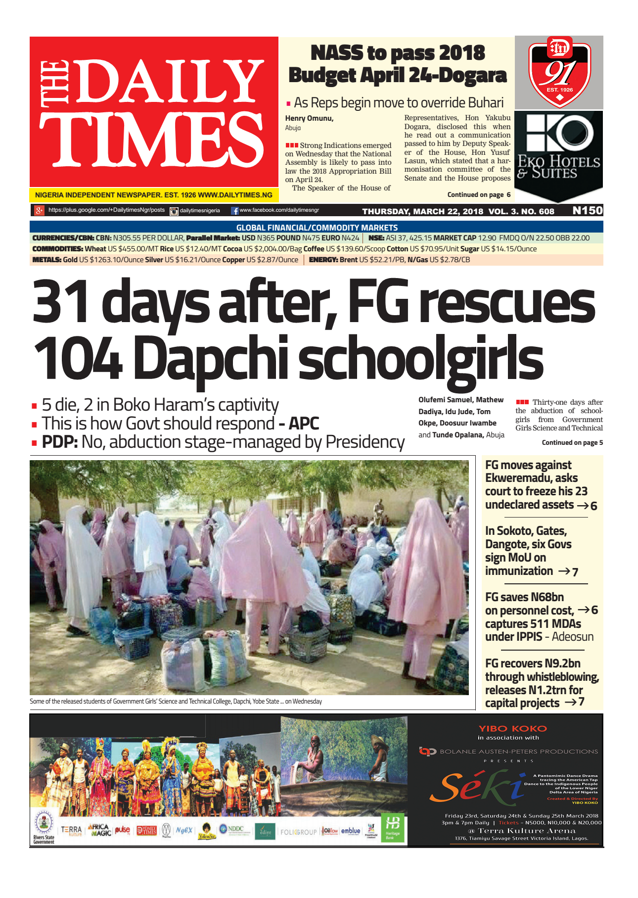Daily Times Newspaper, Thursday, March 22, 2018