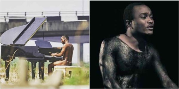 Brymo Goes Naked As He Rocks G-String While Playing The Piano In Public (Photo)