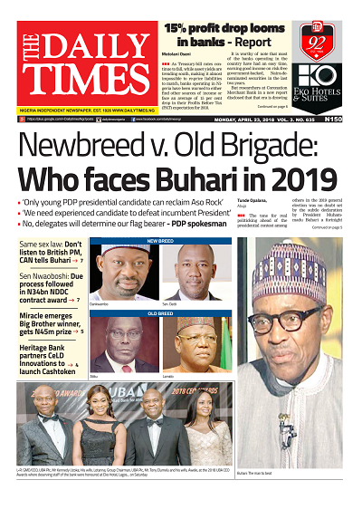 Daily Times Newspaper, Monday, April 23, 2018