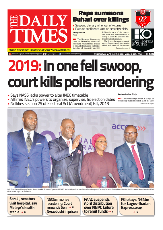Daily Times Newspaper, Thursday, April 26, 2018
