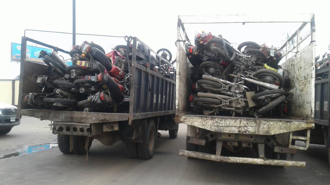 Lagos Task Force impounds 98 motorcycles in Apapa
