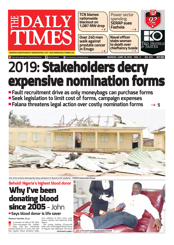 Daily Times Newspaper, Monday, June 18, 2018