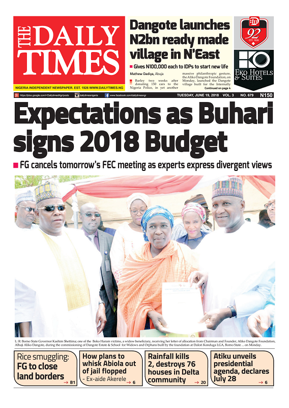 Daily Times Newspaper, Tuesday, June 19, 2018