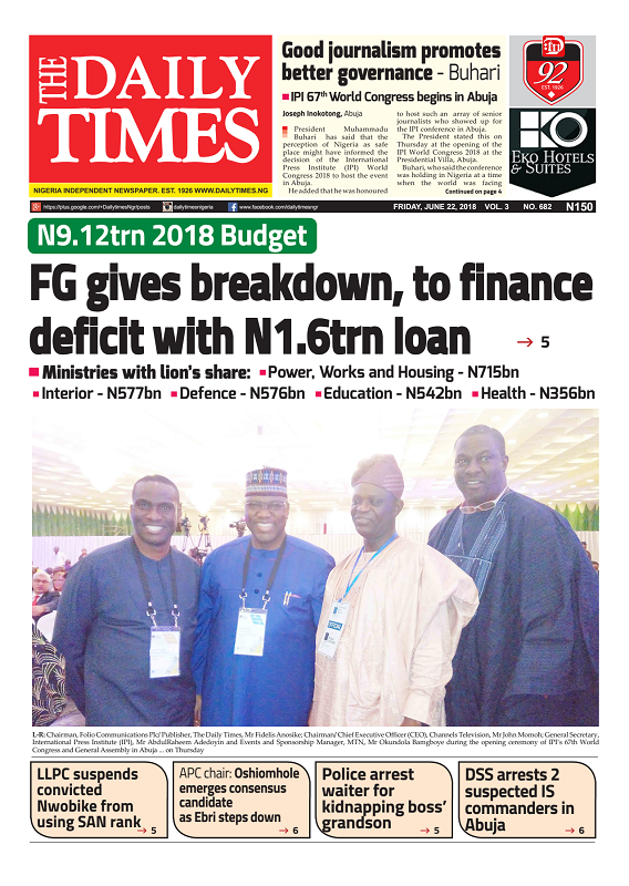 Daily Times Newspaper, Friday, June 22, 2018