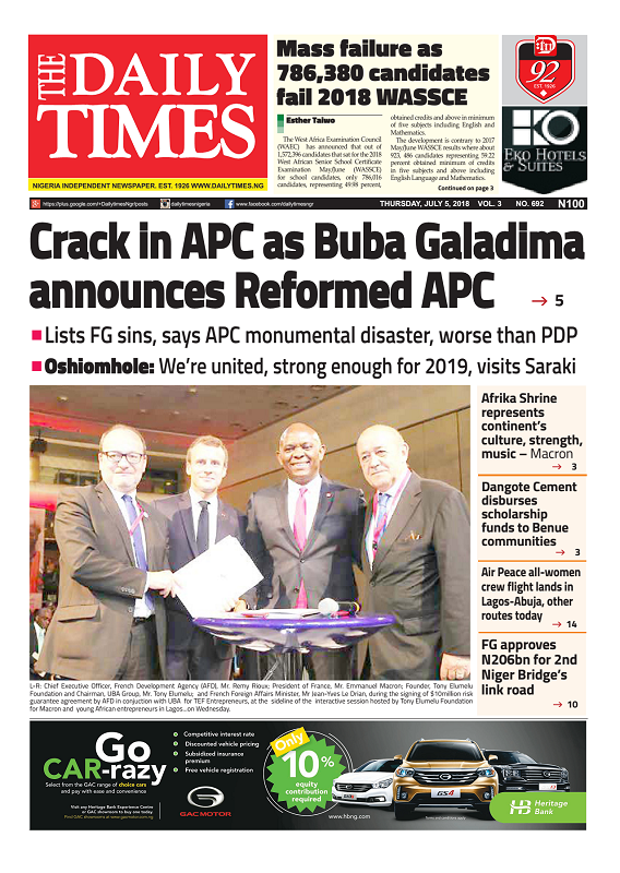 Daily Times Newspaper, Thursday, July 05, 2018