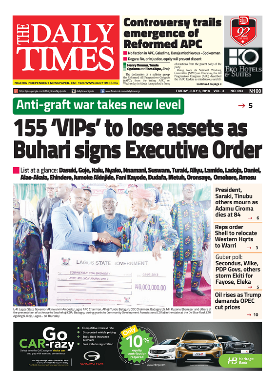 Daily Times Newspaper, Friday, July 06, 2018