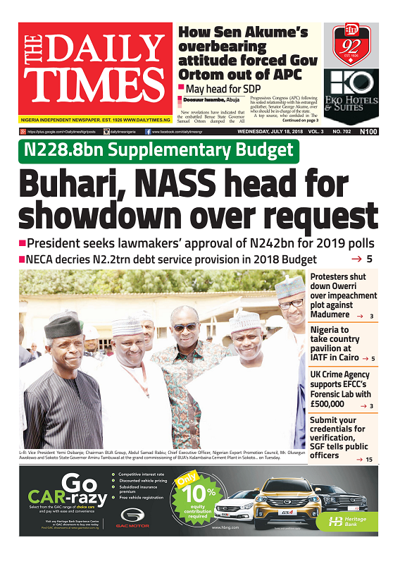 Daily Times Newspaper, Wednesday, July 18, 2018