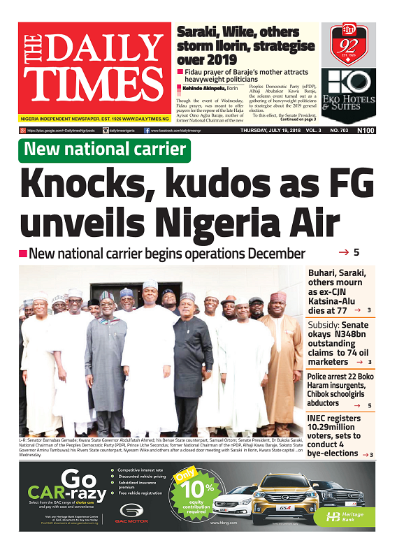 Daily Times Newspaper, Thursday, July 19, 2018