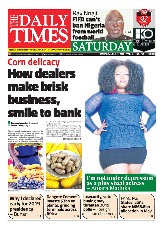 Daily Times Newspaper, Saturday, July 21, 2018