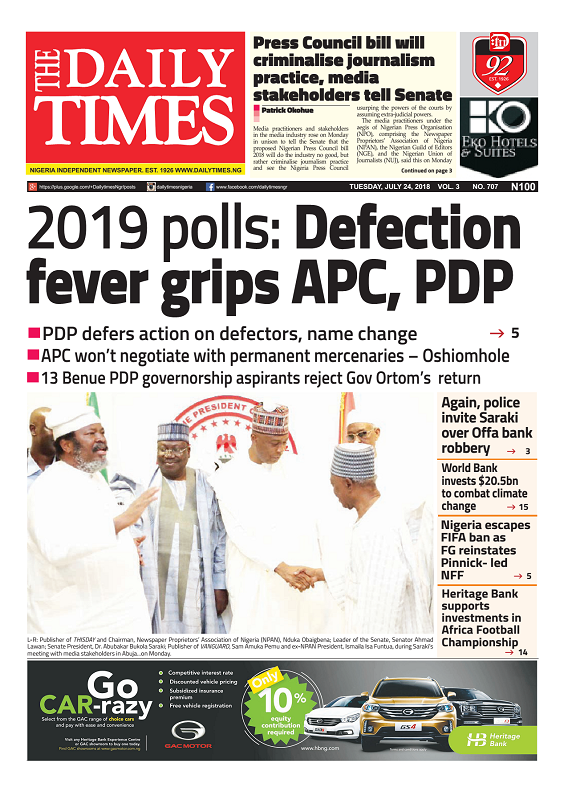 Daily Times Newspaper, Tuesday, July 24, 2018