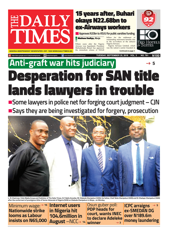 Daily Times Newspaper, Tuesday, September 25, 2018