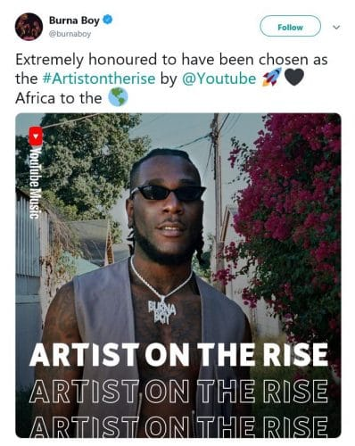 Burna Boy Got Featured On YouTube 'Artist On The Rise'