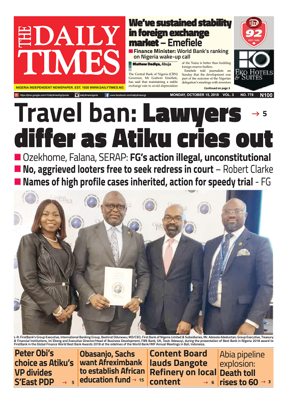 Daily Times Newspaper, Monday, October 15, 2018