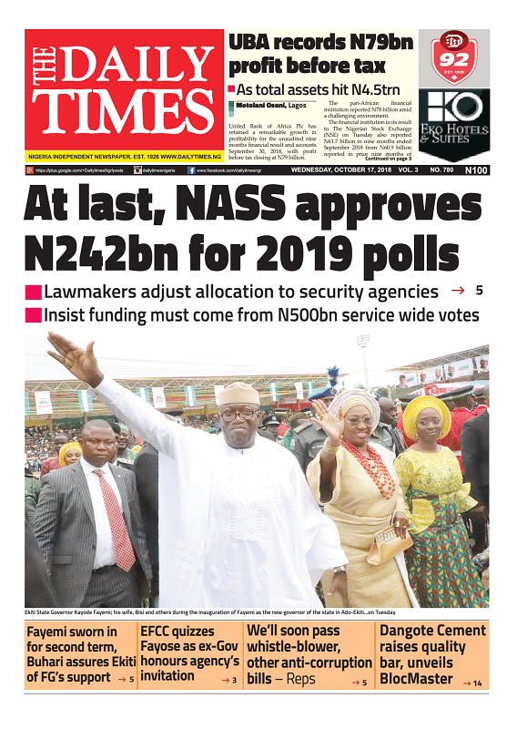 Daily Times Newspaper, Wednesday, October 17, 2018