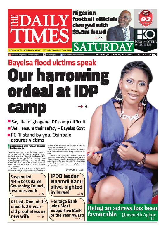 Daily Times Newspaper, Saturday, October 20, 2018