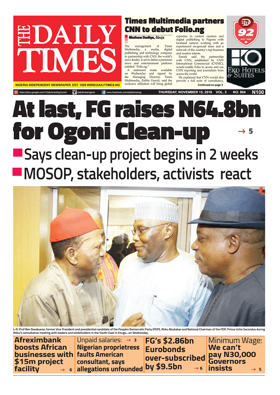 Daily Times Newspaper, Thursday, November 15, 2018