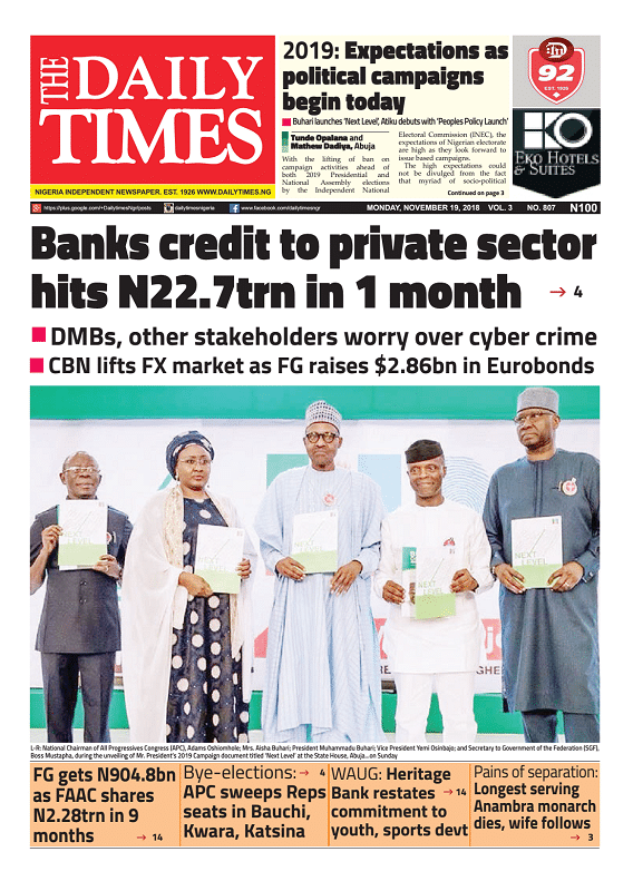 Daily Times Newspaper, Monday, November 19, 2018