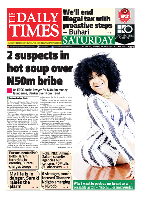 Daily Times Newspaper, Saturday, January 12, 2019