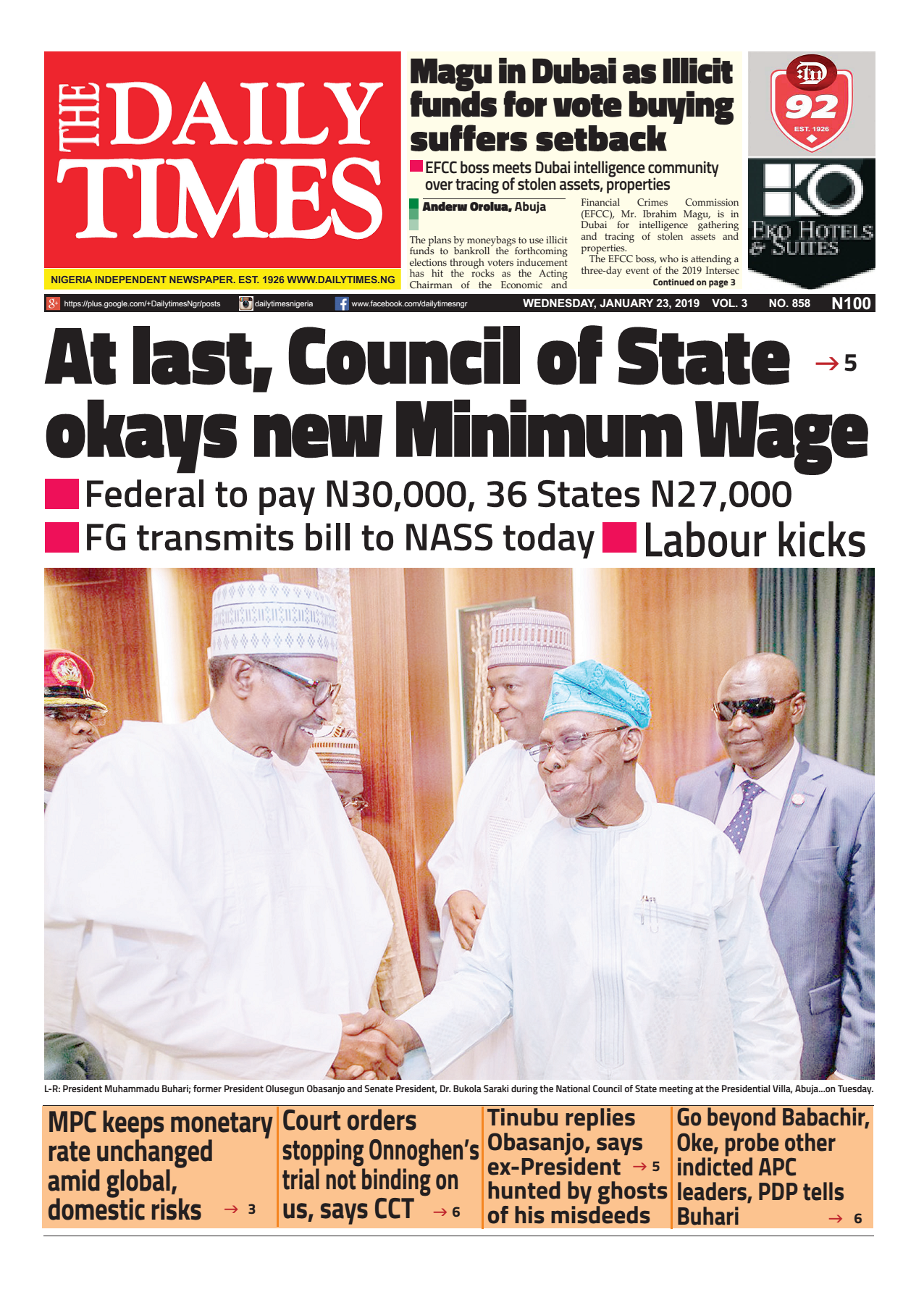 Daily Times Newspaper, Wednesday, January 23, 2018