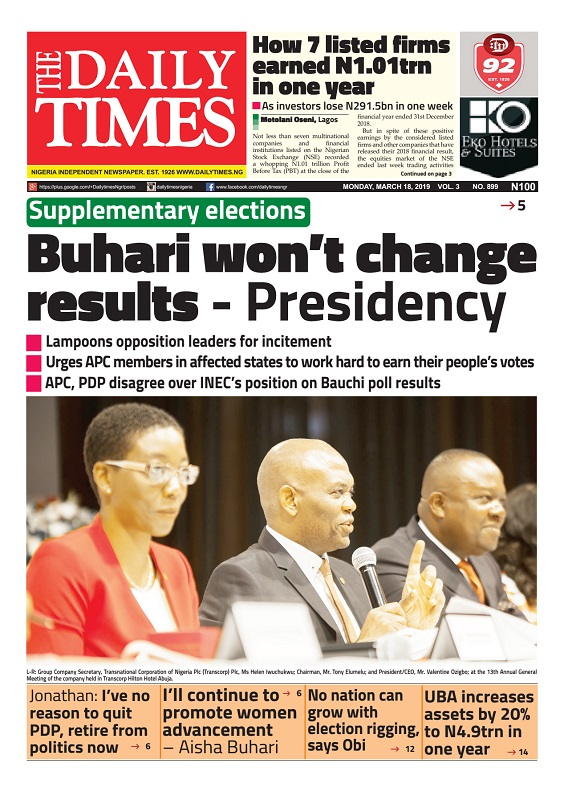 Daily Times Newspaper, Monday, March 18, 2019