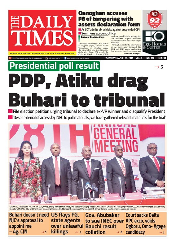 Daily Times Newspaper, Tuesday, March 19, 2019