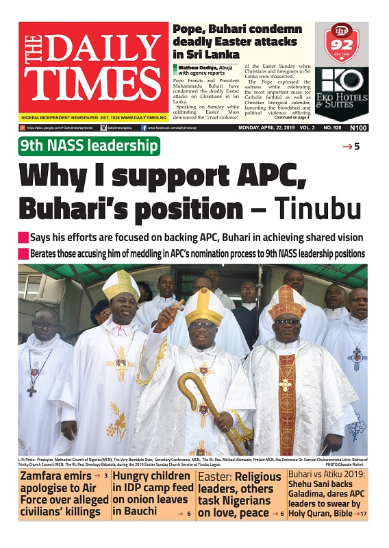 Daily Times Newspaper, Monday, April 22, 2019