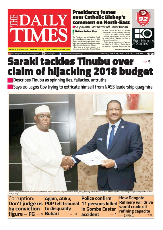 Daily Times Newspaper, Tuesday, April 23, 2019