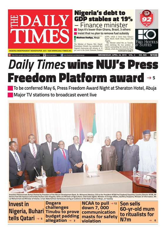 Daily Times Newspaper, Wednesday, April 24, 2019