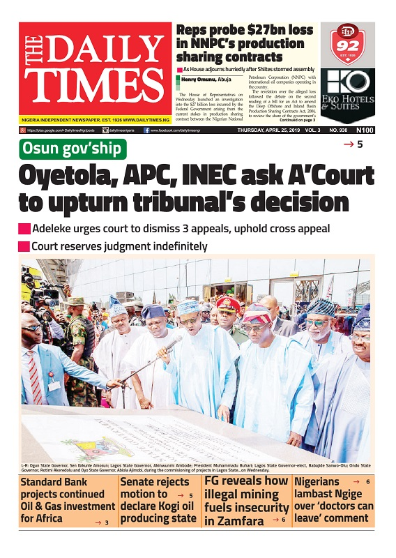 Daily Times Newspaper, Thursday, April 25, 2019