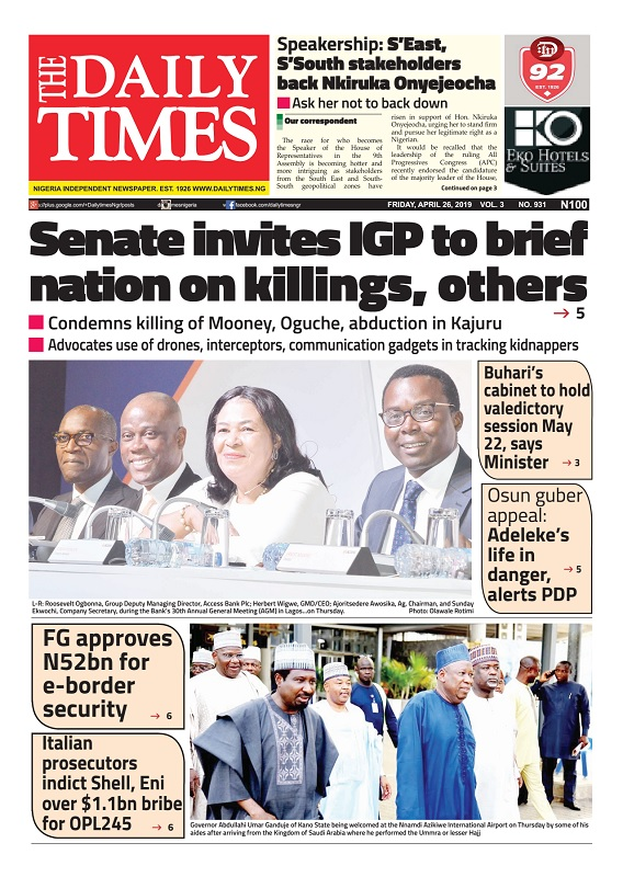Daily Times Newspaper, Friday, April 26, 2019