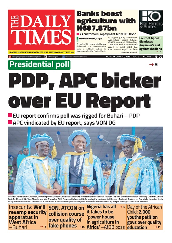 Daily Times Newspaper, Monday, June 17, 2019