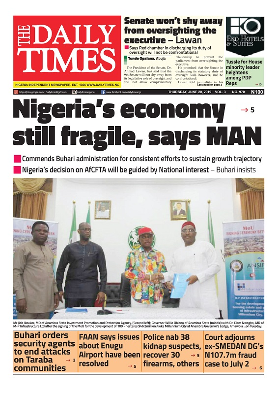 Daily Times Newspaper, Thursday, June 20, 2019