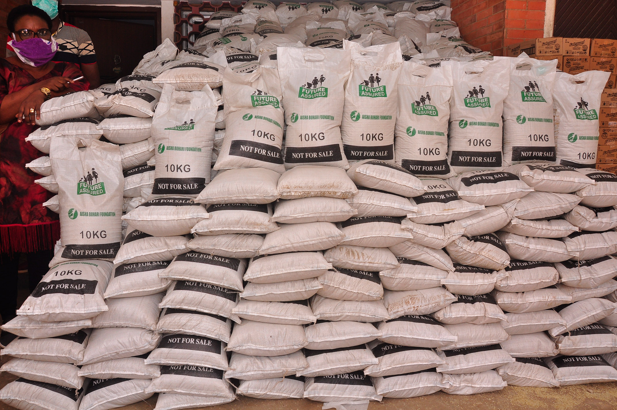 Bags of rice donated by the Wife of the President, Aisha Buhari