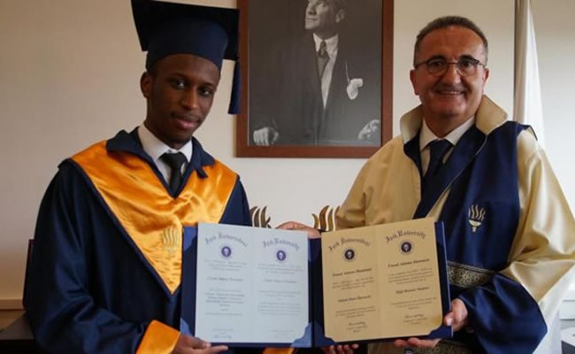 Nigerian student honoured as best graduating student in Turkish University