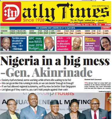 Daily Times Newspaper, Monday, April 18th, 2016