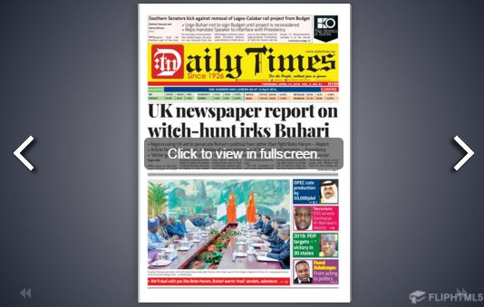 Daily Times Newspaper, Thursday, April 14th, 2016