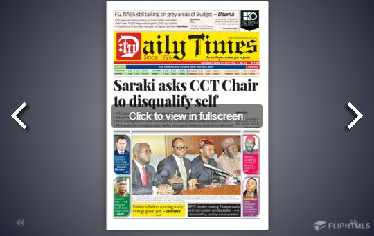 Daily Times Newspaper, Thursday, April 21, 2016