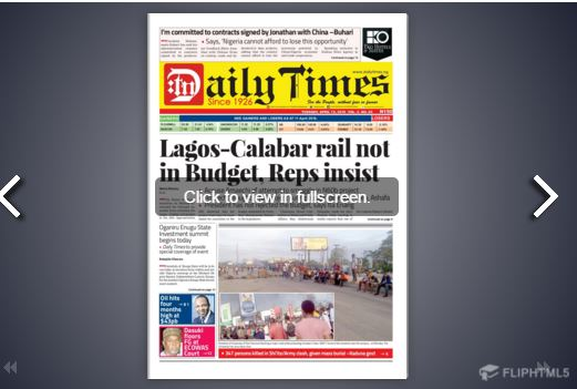 Daily Times Newspaper, Tuesday, April 11th, 2016