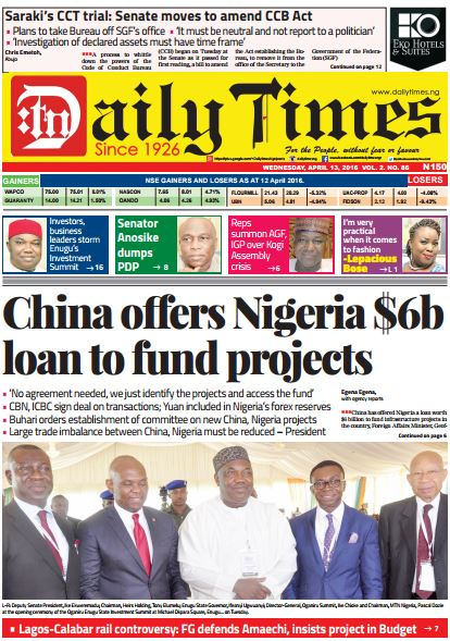 Daily Times Newspaper, Wednesday, April 13, 2016