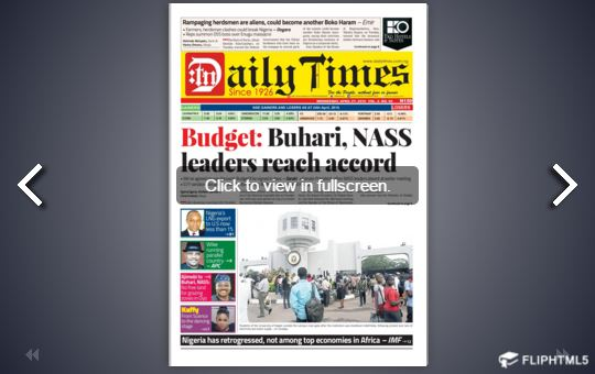 Daily Times Newspaper, Wednesday, April 27th, 2016