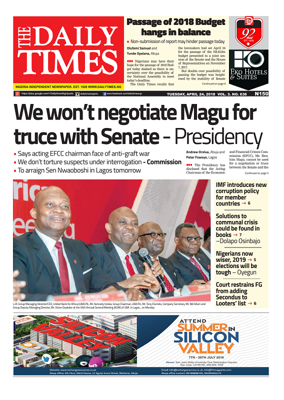 Daily Times Newspaper, Tuesday, April 24, 2018