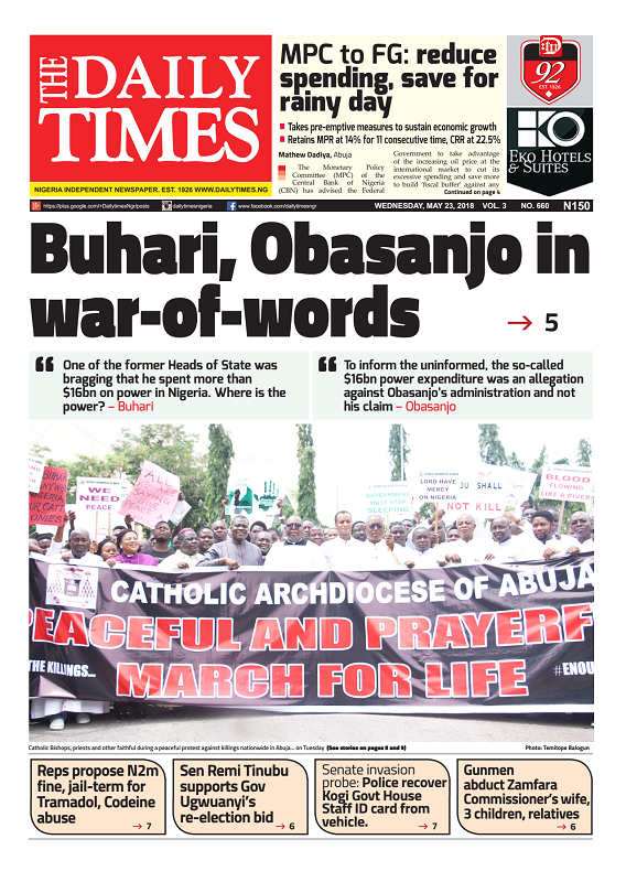 Daily Times Newspaper, Wednesday, May 23, 2018